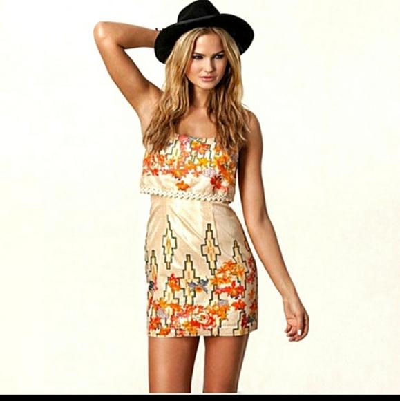 Free People Boho Metallic Aztec Dress Mini Size 4